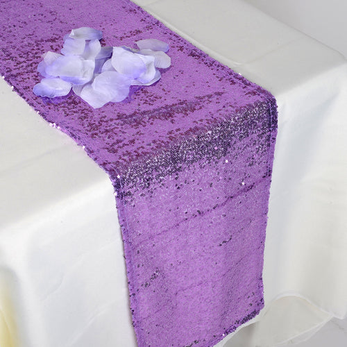 Lavender - 12 x 108 Inch Duchess Sequin Table Runners - FuzzyFabric