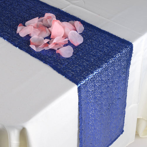 Navy Blue - 12 x 108 Inch Duchess Sequin Table Runners - FuzzyFabric