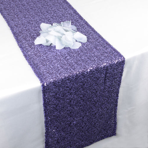 Purple - 12 x 108 Inch Duchess Sequin Table Runners - FuzzyFabric