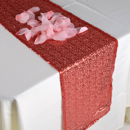 Red - 12 x 108 Inch Duchess Sequin Table Runners - FuzzyFabric