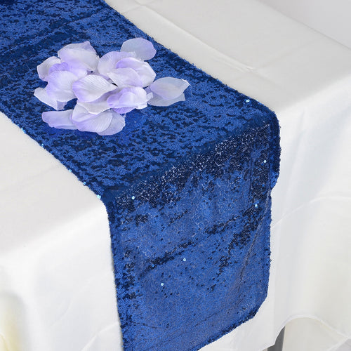 Royal Blue - 12 x 108 Inch Duchess Sequin Table Runners - FuzzyFabric