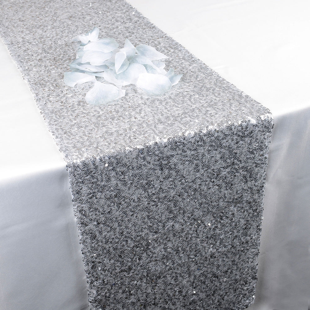 Silver - 12 x 108 Inch Duchess Sequin Table Runners - FuzzyFabric