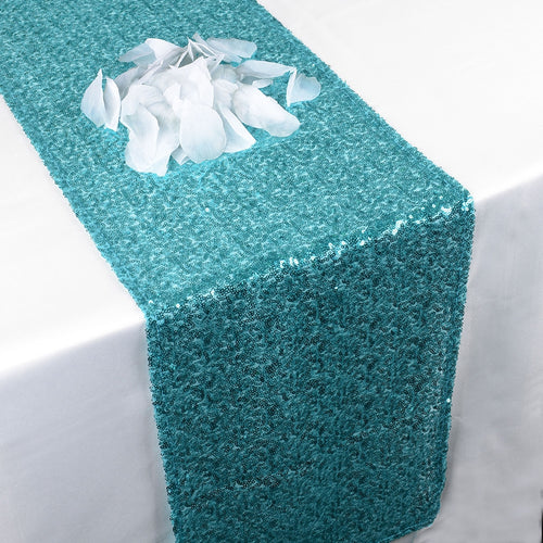Turquoise - 12 x 108 Inch Duchess Sequin Table Runners - FuzzyFabric