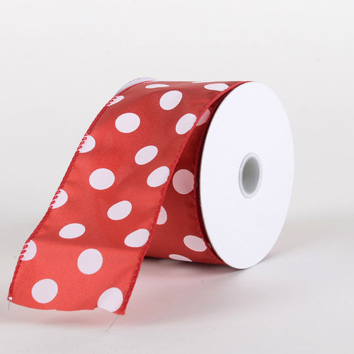 Satin Polka Dot Ribbon Wired Red with White Dots ( W: 2-1/2 inch | L: 10 Yards )