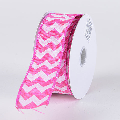 Fuchsia Chevron Canvas Wired Edge - ( W: 2-1/2 Inch | L: 10 Yards )