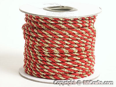 3mm Red with Gold Petite Metallic Cord