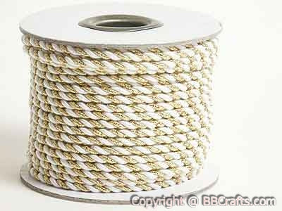 3mm White With Gold Petite Metallic Cord