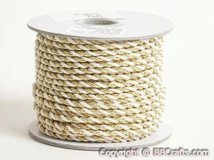 3mm Ivory with Gold Sparkle Petite Metallic Cord