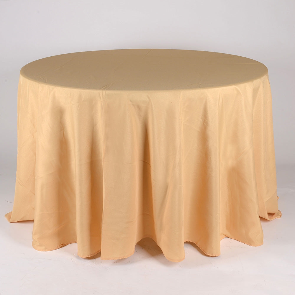 Gold - 132 Inch Polyester Round Tablecloths - FuzzyFabric