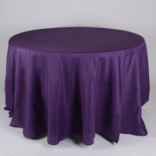 Plum - 132 Inch Polyester Round Tablecloths - FuzzyFabric