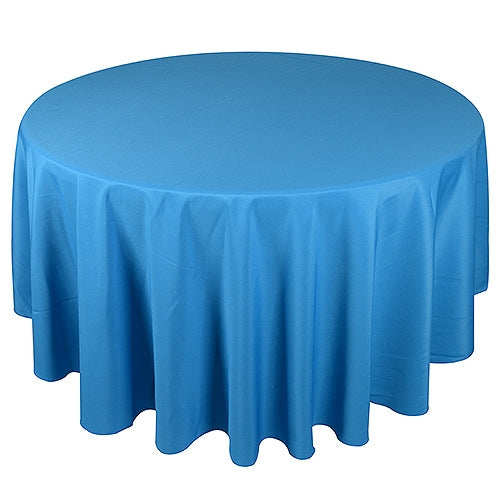 Turquoise - 132 Inch Polyester Round Tablecloths - FuzzyFabric