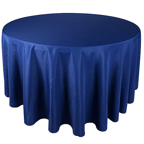 Navy Blue - 132 Inch Polyester Round Tablecloths - FuzzyFabric