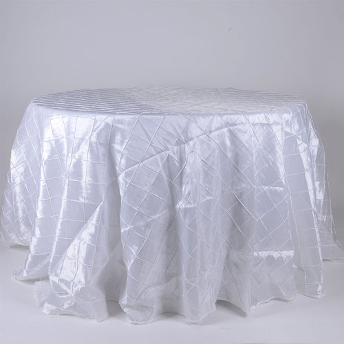 White - 132 inch Pintuck Satin Round Tablecloths - FuzzyFabric