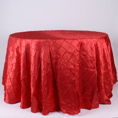 Red - 132 inch Pintuck Satin Round Tablecloths - FuzzyFabric