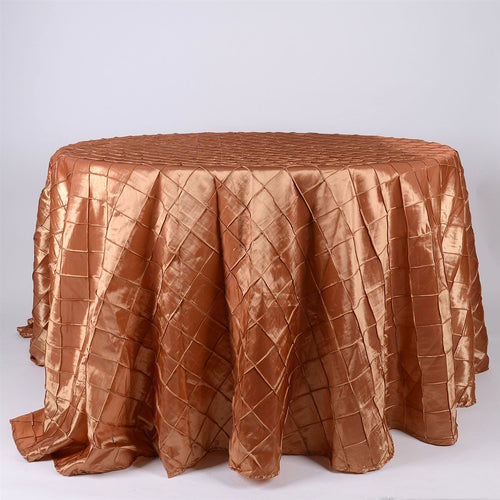 Gold - 132 inch Pintuck Satin Round Tablecloths - FuzzyFabric