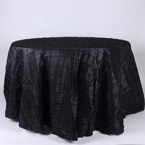 Black - 132 inch Pintuck Satin Round Tablecloths - FuzzyFabric