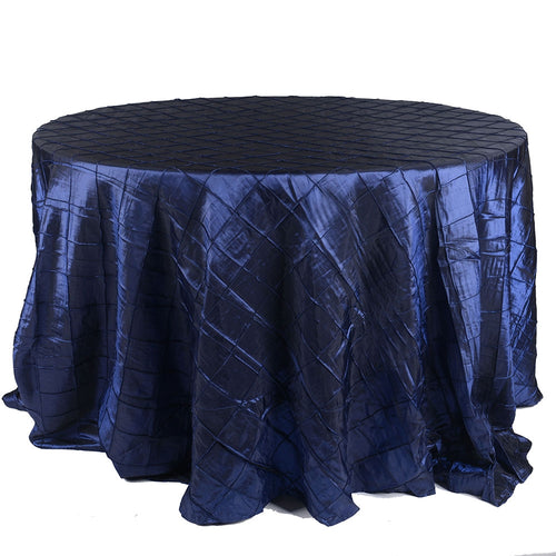 Navy - 132 inch Pintuck Satin Round Tablecloths - FuzzyFabric