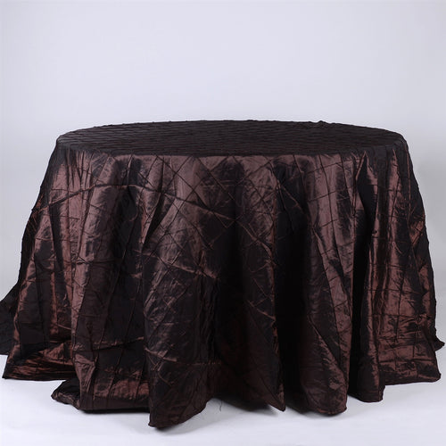 Chocolate Brown - 132 inch Pintuck Satin Round Tablecloths - FuzzyFabric