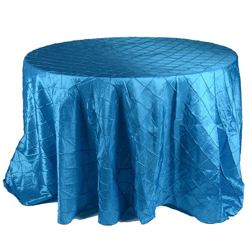 Turquoise - 132 inch Pintuck Satin Round Tablecloths - FuzzyFabric