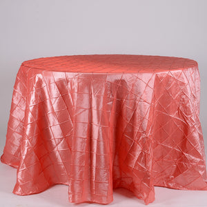 Coral - 132 inch Pintuck Satin Round Tablecloths - FuzzyFabric