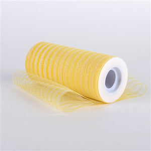Yellow 6 Inch Glitter Multi Striped Tulle