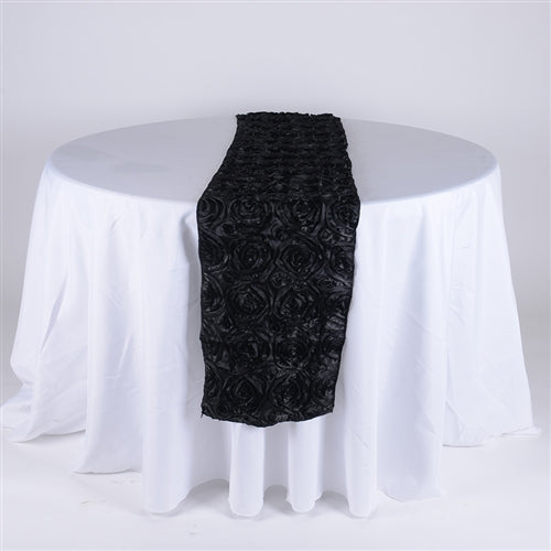 Black - 14 x 108 Inch Rosette Satin Table Runners - FuzzyFabric