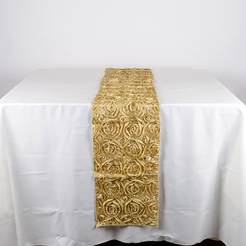 Champagne - 14 x 108 Inch Rosette Satin Table Runners - FuzzyFabric