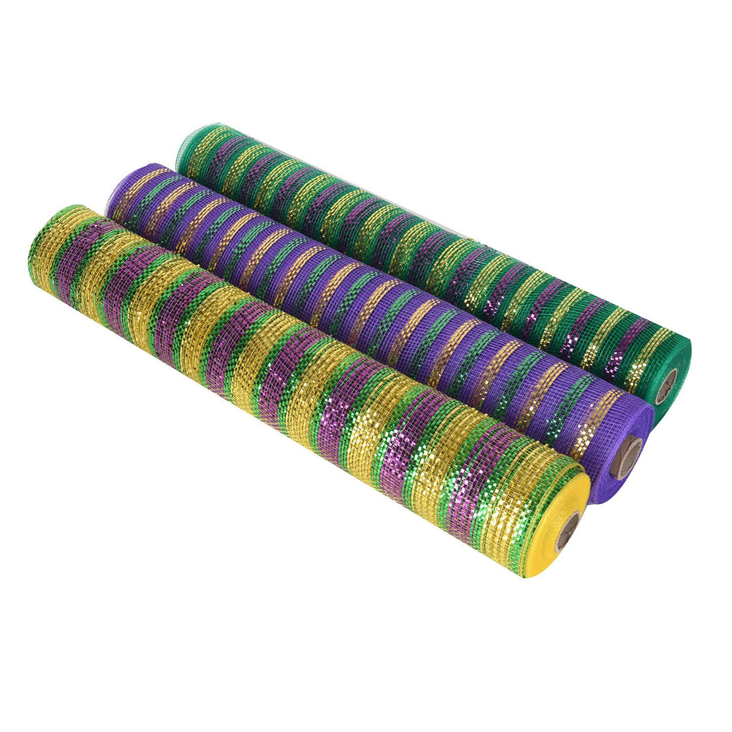 Mardi Gras Mesh Set - Pack of 3 ( 21 Inch x 10 Yards ) - XB91747*XB91711M*XB91717M
