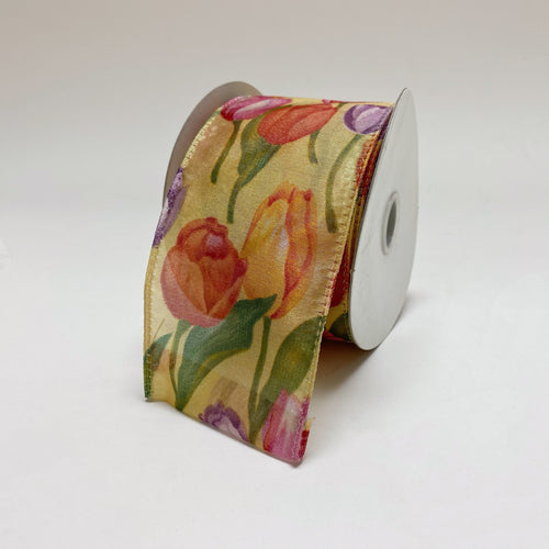 Yellow Tulips Organza Ribbon - ( W: 2-1/2 Inch | L: 10 Yards )