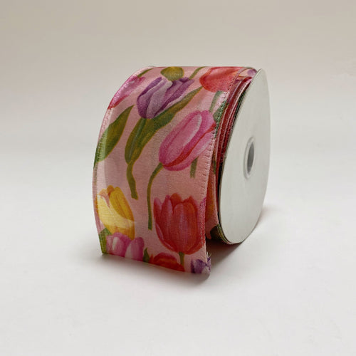 Pink Tulips Organza Ribbon - ( W: 2-1/2 Inch | L: 10 Yards )