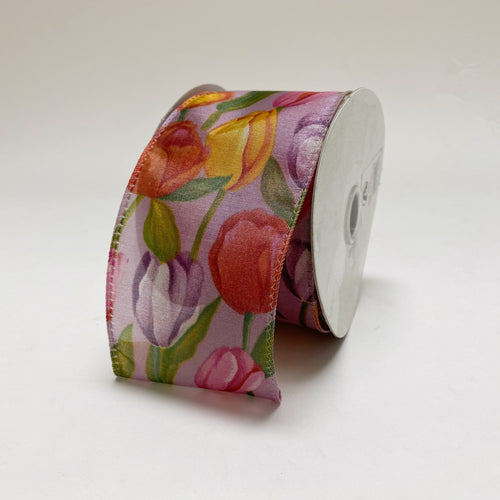 Purple Tulips Organza Ribbon - ( W: 2-1/2 Inch | L: 10 Yards )