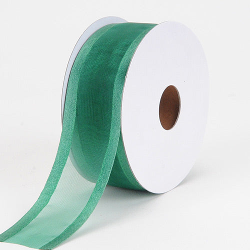 7/8 inch Hunter Green Organza Ribbon Two Striped Satin Edge