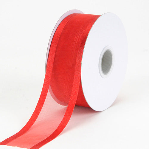 Red - Organza Ribbon Two Striped Satin Edge - ( W: 3/8 Inch | L: 25 Yards )