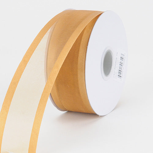 Old Gold - Organza Ribbon Two Striped Satin Edge - ( W: 3/8 Inch | L: 25 Yards )