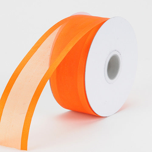 Orange - Organza Ribbon Two Striped Satin Edge - ( W: 5/8 Inch | L: 25 Yards )