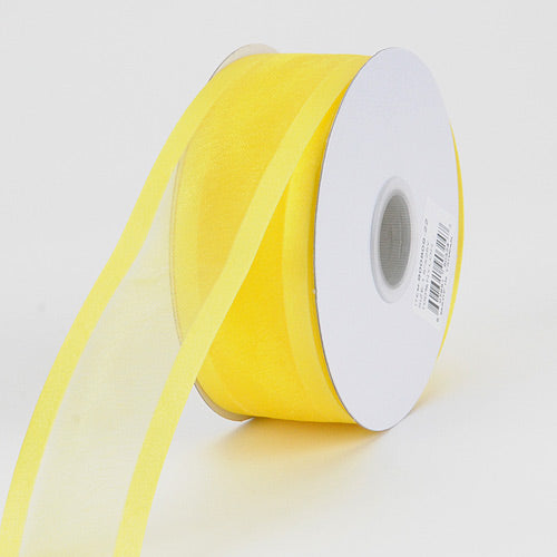 7/8 inch Daffodil Organza Ribbon Two Striped Satin Edge