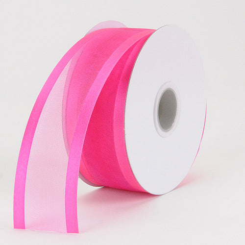 Fuchsia - Organza Ribbon Two Striped Satin Edge - ( W: 7/8 Inch | L: 25 Yards )