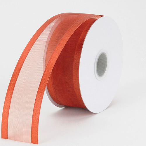 1-1/2 inch Copper Organza Ribbon Two Striped Satin Edge