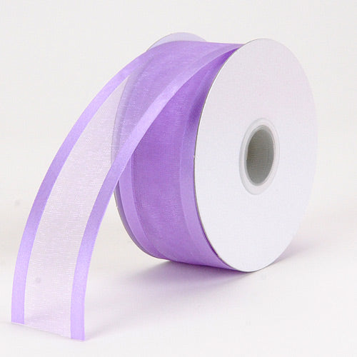 5/8 inch Orchid Organza Ribbon Two Striped Satin Edge