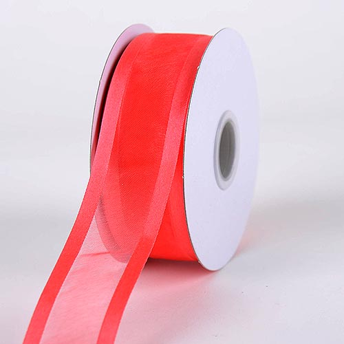 Melon - Organza Ribbon Two Striped Satin Edge - ( W: 7/8 Inch | L: 25 Yards )