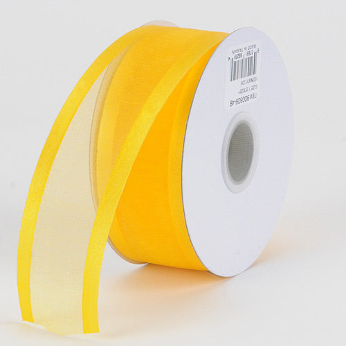 Sunflower - Organza Ribbon Two Striped Satin Edge - ( W: 5/8 Inch | L: 25 Yards )