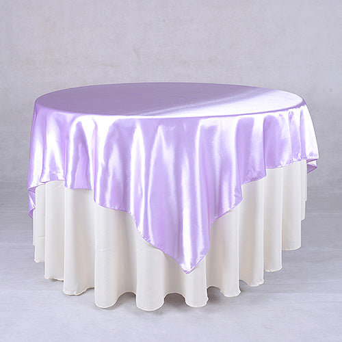 72 Inch Lavender 72 x 72 Satin Table Overlays