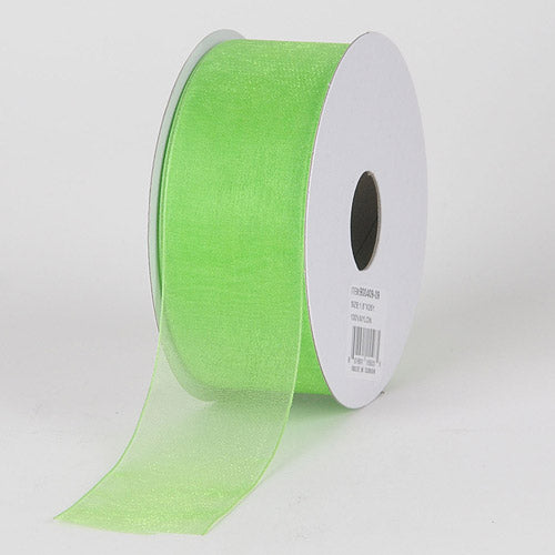 3/8 inch Apple Green Sheer Organza Ribbon