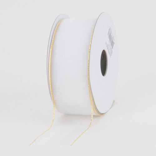 White With Gold Edge - Sheer Organza Ribbon - ( W: 5/8 Inch | L: 25 Yards )