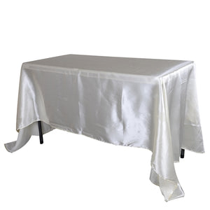 "60 Inch x 102 Inch Ivory 60"" x 102"" Rectangular Satin Tablecloths"