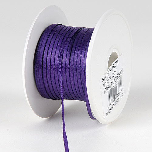 Purple Satin Ribbon - (W: 1/16 inch | L: 100 Yards)