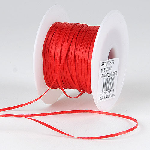 Red Satin Ribbon - (W: 1/16 inch | L: 100 Yards)