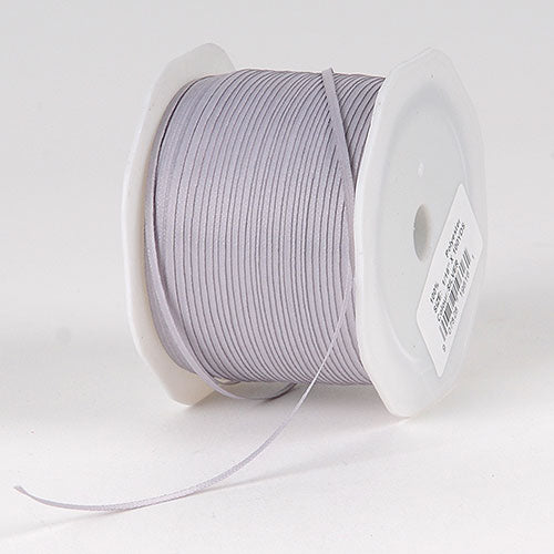 Silver Satin Ribbon - (W: 1/16 inch | L: 100 Yards)