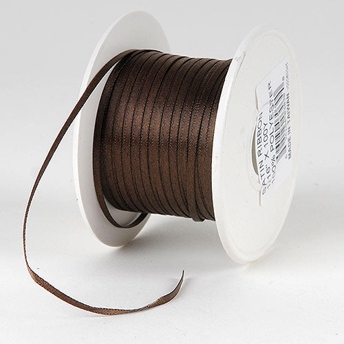Chocolate Brown - Single Face Satin Ribbon - (W: 1/16 inch | L: 100 Yards)