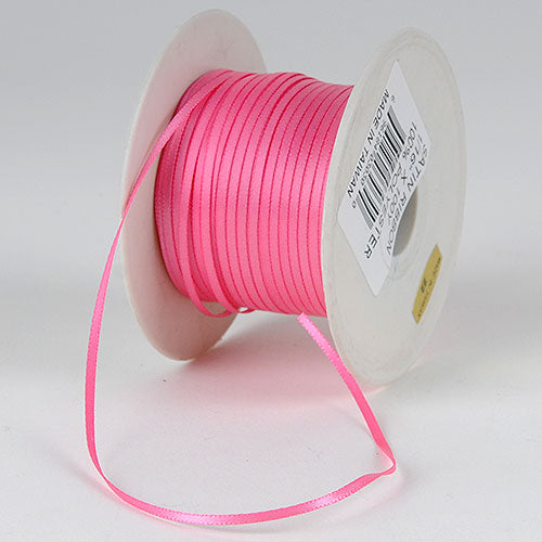 Hot Pink - Single Face Satin Ribbon - (W: 1/16 inch | L: 100 Yards)